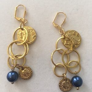 Golden Coins with Sapphire Pearl earrings